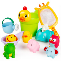 男女孩小黄鸭洗头杯花洒宝宝洒水壶套装沙滩儿童洗澡玩具戏水车