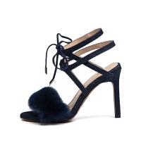 【一口价:144元】D:Fuse/迪芙斯春季新品商场同款系带毛毛凉鞋女鞋DF72115158