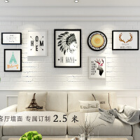 客厅装饰画餐厅挂画简美欧式沙发背景墙大气组合实木墙上壁画美式 整体尺寸250*90CM20mm厚板拼套