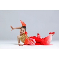 儿童美人鱼演出服小金鱼舞蹈女中国风鱼儿欢歌傣族古典舞表演服装 红色