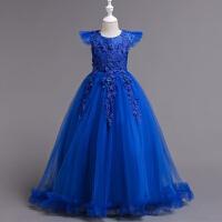 公主裙大女童礼服儿童走秀晚礼服花童主持人钢琴演出服蓬蓬纱裙秋 蓝色 正码务拍大