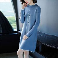 半高领中长款加厚毛衣裙女秋冬大码女装宽松针织衫套头韩版打底衫 M 建议80-90斤