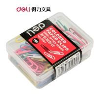 DELI得力 装彩色回形针 彩色 规格29MM 曲别针 100枚/盒 0024