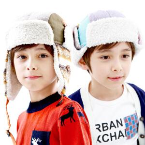 韩国kk树新品秋冬潮版撞色休闲护耳帽男儿童帽保暖加绒男童帽子