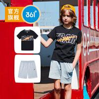 【下单立减】361度童装 男童套装儿童运动套装休闲套装 2019夏季新品短袖五分短裤套装N51923471