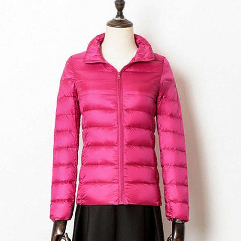 时尚秋冬季轻薄羽绒服女短款韩版立领修身便携式外套大码女装 玫 5XL 140-160斤