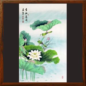 荷花《言和意顺》张一娜【R4560】一级美术师 带作者防伪钢印