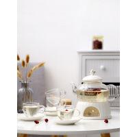 【品质好货】欧式简约花果茶具套装蜡烛加热玻璃陶瓷煮水果花茶具下午茶壶茶杯 +2杯2碟(玻璃杯)