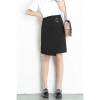 不规则黑色包臀半身裙高腰修身显瘦一步裙A型职业包裙面试正装裙 黑色 M / 2尺腰围