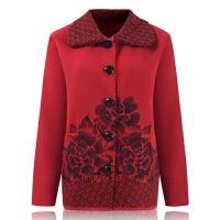 中老年人秋冬装女60-70岁奶奶妈妈装老人翻领针织衫毛衣开衫外套