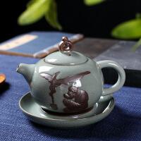 功夫茶具套装家用简约复古景德镇哥窑冰裂釉陶瓷功夫茶杯礼盒装 图片色
