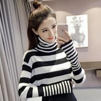 秋冬韩版加厚打底针织衫上衣长袖修身学生套头黑白条纹高领毛衣女