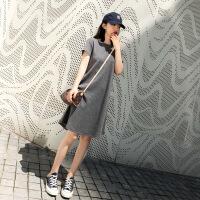 极简主义连衣裙慵懒风体恤懒人春夏t��裙子休闲灰色T恤连衣裙女夏 灰色