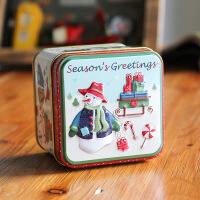 新款圣诞小方盒马口铁盒糖果饼干盒礼物盒包装盒圣诞装饰品收纳盒 长7.5宽7.5高6.5