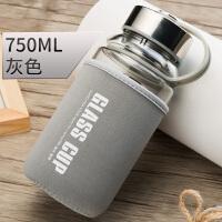 品牌玻璃杯便携透明大容量水杯单层杯子带盖过滤男耐热茶杯1000ml