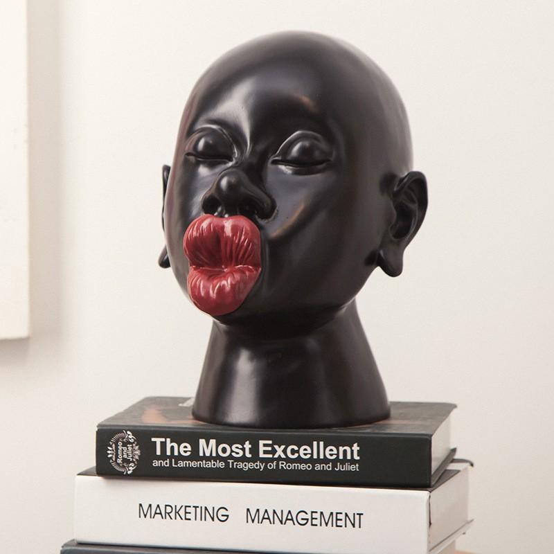 现代简约时尚创意人物摆件客厅玄关欧式创意家居装饰品艺术雕塑树脂工艺品礼品 黑色 【给您视觉不一样的体验】【手工制作,精细打磨】