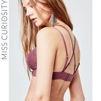 好奇蜜斯小胸法式蕾丝胸罩聚拢交叉文胸美背性感无钢圈内衣女薄款