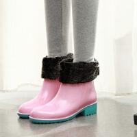 夏季短筒雨鞋女士中筒时尚水鞋防滑平跟雨靴韩国低帮平底水靴