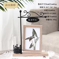 家用小清新创意个性木质6寸相框摆台房间卧室装饰品摆件水培植物花瓶SN8996 6寸