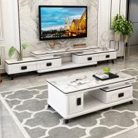 新款大理石电视柜茶几组合套装家用客厅伸缩钢化玻璃北欧现代简约