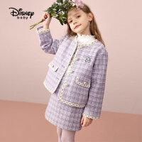 9.25超品返场【2.5折预估价:215.7元】迪士尼童装女童小香风套装长袖裙子两件套洋气秋装潮
