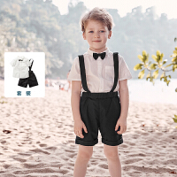 【618年中庆 2件3折价:81】迷你巴拉巴拉男童短袖短裤套装2020夏装新品透气宝宝洋气潮装童装