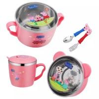 304不锈钢儿童饭碗带盖水杯叉勺套装可爱卡通幼儿园宝宝汤碗餐具