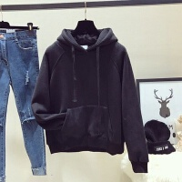 秋冬�b�n版黑色加�q加厚�l衣女��松2019bf�B帽套�^薄款外套