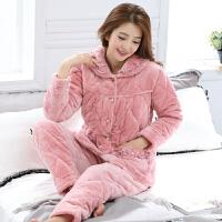 冬季睡衣女士珊瑚绒夹棉袄加厚三层胖mm加肥加大码家居服套装保暖 9907粉套装 法兰绒夹棉套装