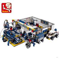 小鲁班拼装积木 F1维修站模型赛车儿童启蒙益智玩具组装模型