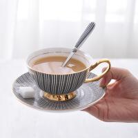 黑白欧式茶杯简约陶瓷下午茶具骨瓷英式轻奢咖啡杯碟套装送勺 一杯一碟
