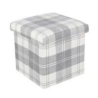 收纳凳 布艺收纳凳子储物凳可坐可折叠家用沙发换鞋凳子翻盖收纳箱 白色 白格