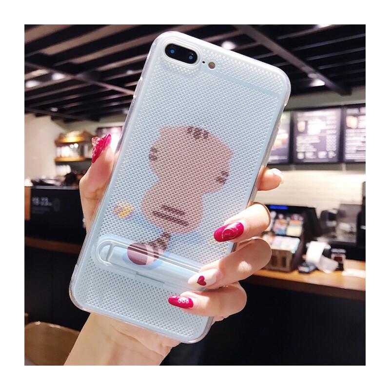 夏天卡通苹果6s手机壳支架iphone7plus散热网壳6硅胶软8X情侣款女 6Plus棕色背影猫 支架网壳