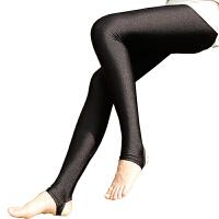 光泽裤春秋薄款显瘦高腰大码外穿踩脚打底裤女九分小脚裤黑色裤袜