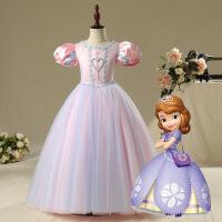 爱莎公主裙儿童艾莎连衣裙迪士尼冰雪奇缘女童苏菲亚贝儿蓬蓬裙子