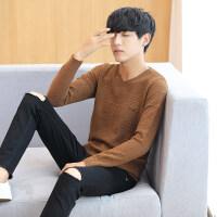 春秋季男士长袖T恤韩版潮V领薄款毛衣纯色针织打底衫上衣春装线衫