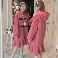 孕妇卫衣冬季加绒加厚2018时尚韩版新款保暖上衣中长款怀孕期外套 红色