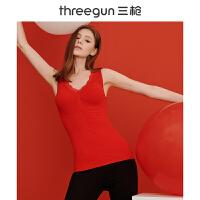 [六一钜惠,预估价125]三枪保暖上装女士加绒美体塑形本命年红蕾丝花边V领无痕打底背心