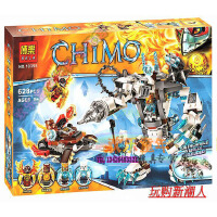 欢乐童年-兼容乐高式CHIMA气功传奇赤马神兽 冰熊王的机甲巨熊拼装积木10355新品