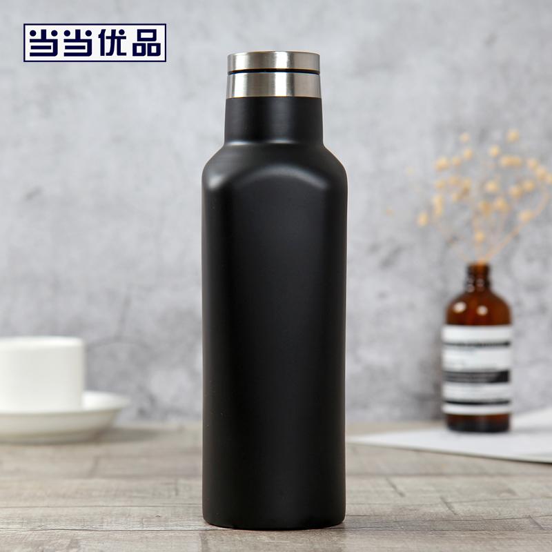 当当优品 创意方形旅行保温杯480ml 菱度系列 黑色当当自营 创新方形杯身 食品级材质 小口径杯口 底部防滑硅胶