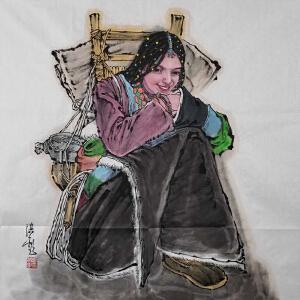 原创画《人物格桑花》葛洪彪ML5193 西安美院 专职画师