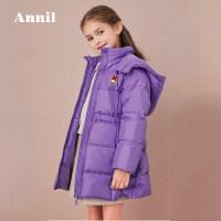 【活动价:422.6】安奈儿童装女童2019冬季新款收腰荷叶边中长款羽绒服