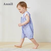 【活动价:109.5】安奈儿童装婴童连体衣2020夏季新款条纹俏皮活泼女宝宝连体衣