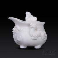 德化手工白瓷茶壶陶瓷盖碗茶杯手抓小单壶家用复古中式功夫茶具