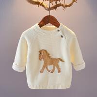 女童毛衣秋冬款宝宝加绒加厚套头针织衫洋气儿童装韩版婴儿外套潮