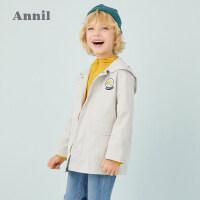 【活动价:239.4】安奈儿童装男童风衣中长款2020春季新款中大童派克服简约学生外套