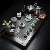功夫茶具套装四合一黑檀实木简约乌金石茶盘整套茶台家用流水茶海