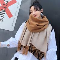 围巾秋冬季女韩版百搭仿羊绒简约针织加厚百搭围脖披肩两用学生爆