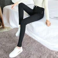 高腰牛仔裤女士加绒加厚秋冬季女装韩版紧身显瘦弹力铅笔小脚长裤 黑色 2058 25 (75-84斤穿)