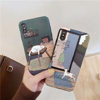 浮雕蚕丝纹猫咪 苹果x手机壳手绘创意iphonexr创意男女款8plus简约复古7p硅胶软壳6s保护套xs max/11